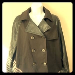 Awesome jacket faux leather sleeves collar small
